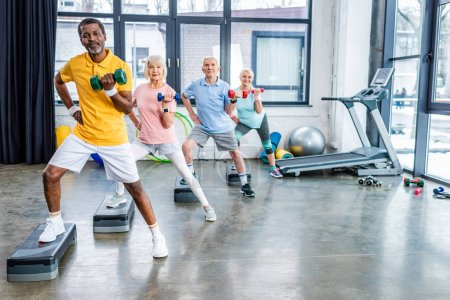 multiethnic senior sportspeople synchronous exercising with dumbbells on step platforms at gym