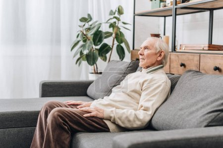 Photo for Retired man with grey hair sitting on sofa - Royalty Free Image