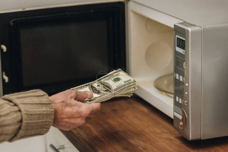 Photo for Cropped view of senior man putting money in microwave oven - Royalty Free Image