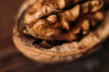 Photo for Top view of walnut in nut shell as alzheimer symbol - Royalty Free Image