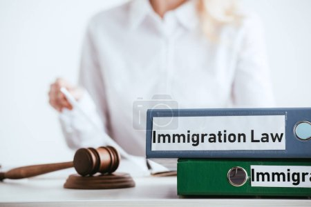 selective focus of folders with immigration law lettering near gavel with woman on background isolated on white