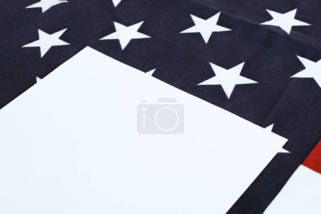 white paper with copy space near american flag