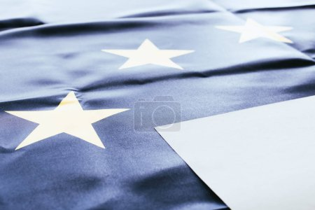 Photo for White empty blank with european flag on background - Royalty Free Image