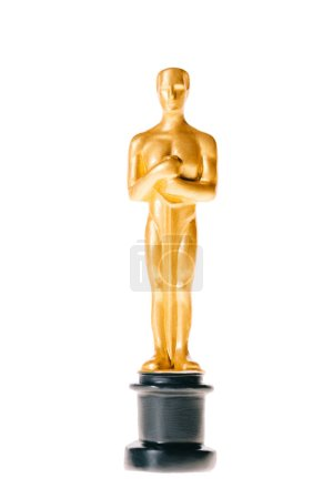 golden oscar statue award isolated on white