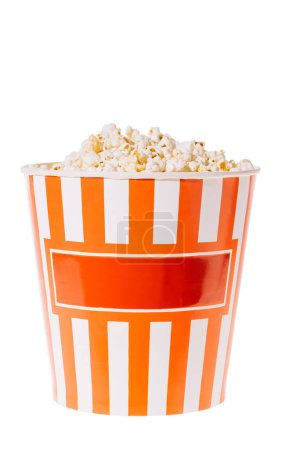 Photo for Red paper cup with popcorn isolated on white - Royalty Free Image