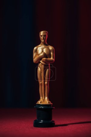 Photo for Selective focus of golden oscar award on dark background - Royalty Free Image