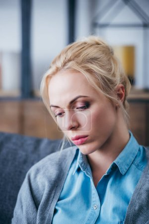 Photo for Selective focus of beautiful sad woman at home - Royalty Free Image