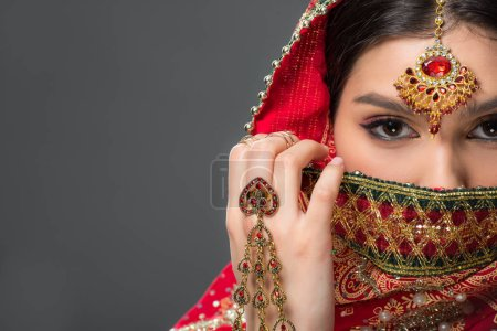 Photo for Indian woman posing in traditional sari and bindi, isolated on grey - Royalty Free Image