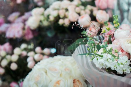 Photo for Selective focus of fresh flower bouquets with copy space on background - Royalty Free Image