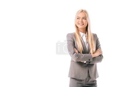 Photo pour Femme d'affaires heureux posant avec les bras croisés isolés sur blanc - image libre de droit