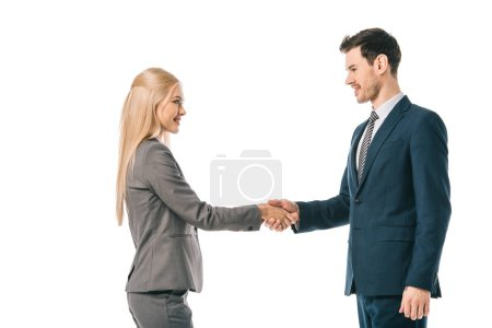 Photo for Businesspeople shaking hands and making deal isolated on white - Royalty Free Image