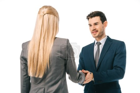 Photo for Businessman shaking hands with colleague and making deal isolated on white - Royalty Free Image