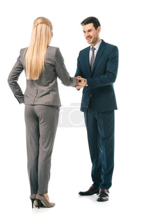 Photo for Professional businesspeople shaking hands and making deal isolated on white - Royalty Free Image