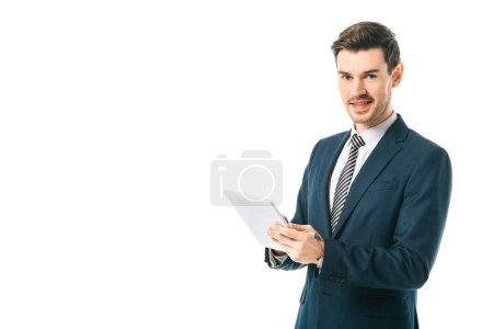 smiling businessman using digital tablet isolated on white