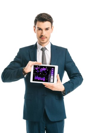 Photo for Confident businessman showing digital tablet with infographic app, isolated on white - Royalty Free Image