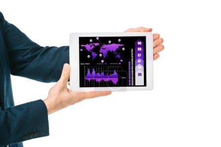 Photo pour Vue recadrée de l'homme d'affaires montrant tablette numérique avec application infographique, isolé sur blanc - image libre de droit