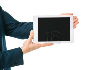 Photo for Partial view of businessman showing digital tablet with blank screen isolated on white - Royalty Free Image