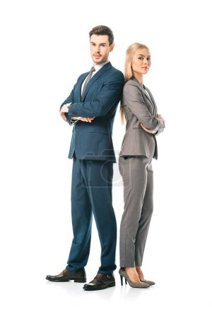 Photo for Confident businesspeople in suits posing with crossed arms isolated on white - Royalty Free Image