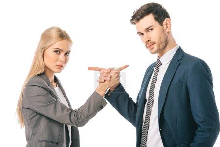 Photo pour Collègues de confiance professionnelle pointant vers l'autre, isolé sur blanc - image libre de droit