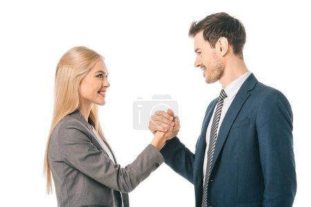 Photo pour Sourire, femme d'affaires et homme d'affaires, se serrant la main isolé sur blanc - image libre de droit