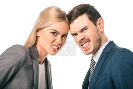 Photo for Aggressive businesspeople showing teeth and having conflict, isolated on white - Royalty Free Image