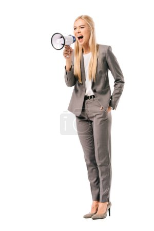 Photo for Emotional businesswoman shouting with megaphone, isolated on white - Royalty Free Image
