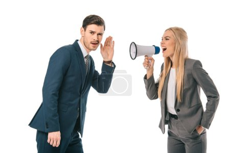 Photo for Businesswoman shouting into megaphone at male employee isolated on white - Royalty Free Image