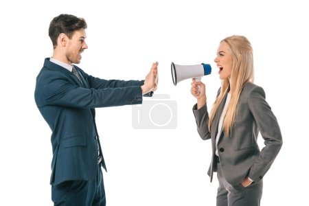 Photo for Businesswoman shouting into megaphone at businessman who showing stop gesture isolated on white, subordinate concept - Royalty Free Image