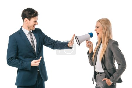 Photo for Female boss shouting into megaphone at male employee who showing stop gesture isolated on white, gender equality concept - Royalty Free Image