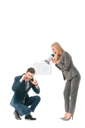 Photo for Angry female boss yelling into megaphone at stressed businessman isolated on white - Royalty Free Image