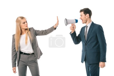 Photo for Businessman screaming into megaphone at businesswoman who showing stop gesture isolated on white, gender equality concept - Royalty Free Image