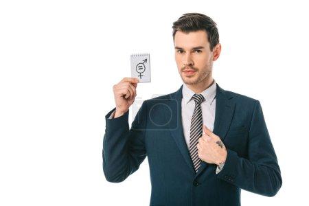 Photo pour Bel homme d'affaires tenant le symbole de l'égalité des sexes, isolé sur blanc - image libre de droit