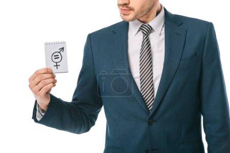 Photo pour Vue recadrée de l'homme d'affaires tenant le symbole de l'égalité des sexes, isolé sur blanc - image libre de droit