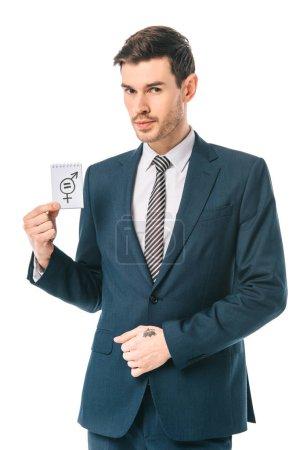 Photo pour Homme d'affaires exécutif tenant le symbole de l'égalité des sexes, isolé sur blanc - image libre de droit