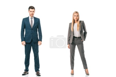Photo for Confident businesspeople posing in suits isolated on white - Royalty Free Image