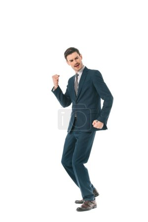 Photo for Successful executive businessman dancing and celebrating triumph isolated on white - Royalty Free Image