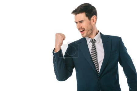 Photo for Excited successful businessman celebrating triumph isolated on white - Royalty Free Image