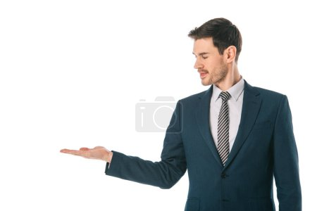 Photo for Corporate businessman presenting something isolated on white - Royalty Free Image