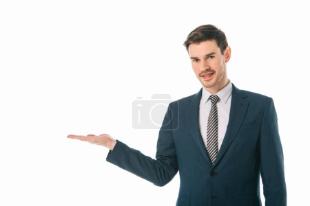 Photo for Successful businessman presenting something isolated on white - Royalty Free Image