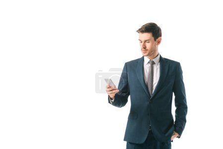 Photo for Corporate businessman using smartphone isolated on white - Royalty Free Image