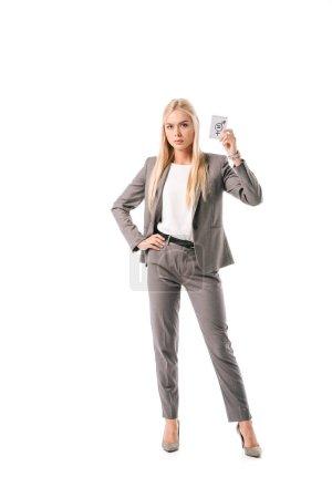 Photo pour Blonde femme d'affaires tenant le symbole de l'égalité des sexes, isolé sur blanc - image libre de droit