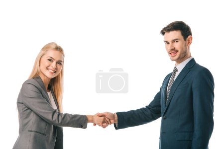 Photo for Smiling successful businesspeople shaking hands isolated on white - Royalty Free Image