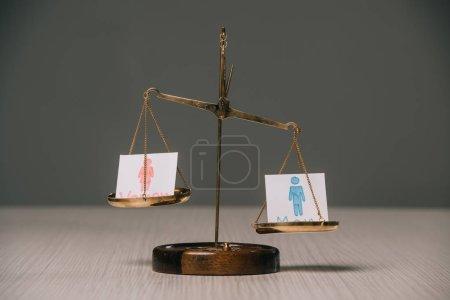 Photo pour Signes masculins et féminins sur échelles sur gris, concept de l'égalité entre les sexes - image libre de droit