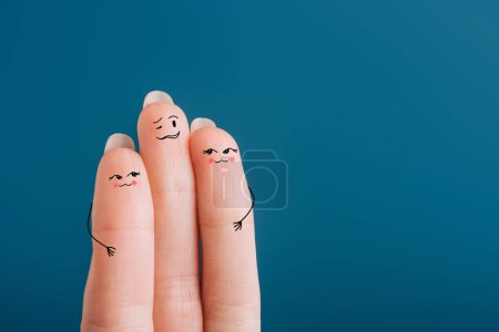 Photo for Cropped view of cheerful human fingers isolated on blue - Royalty Free Image