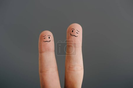 Photo for Cropped view of confused human fingers isolated on grey - Royalty Free Image