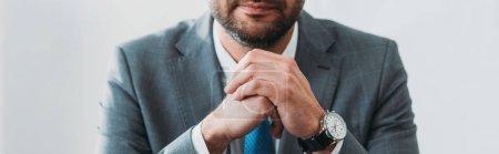 Photo pour Vue partielle de l'homme en costume avec montre au bureau - image libre de droit
