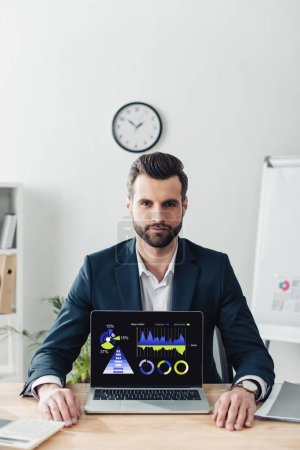 handsome advisor in suit showing laptop with rate website on screen