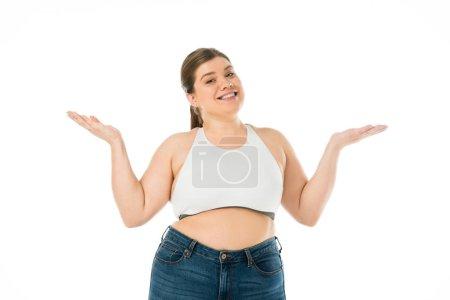 Foto de Feliz sonriente mujer con sobrepeso aislado en blanco, concepto de positividad corporal - Imagen libre de derechos