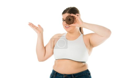 Photo for Smiling overweight woman holding sweet doughnut isolated on white, body positivity concept - Royalty Free Image