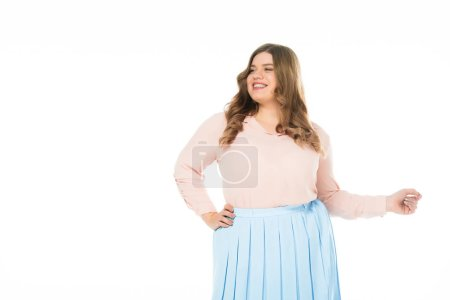 Photo for Happy smiling elegant overweight woman with hand on hip looking away isolated on white - Royalty Free Image